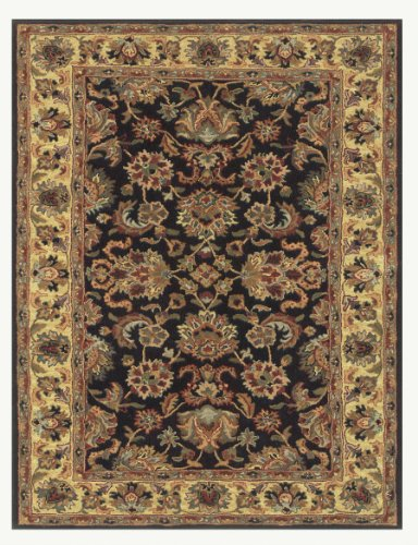 Kensington Collection (black/gold) Hand-Tufted Area Rug - 5' x 8'