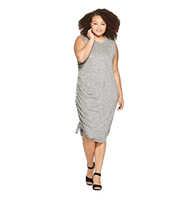 Ava & Viv Women\'s Plus Size Ruched Side Knit Dress - Gray ...
