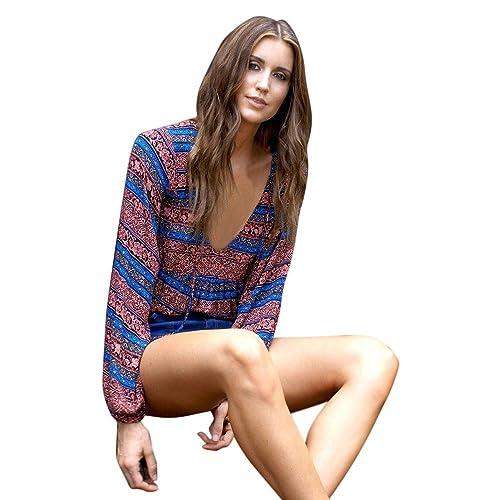 Mujer camisa de manga larga, Yannerr casual Blusa popular de impresión tops