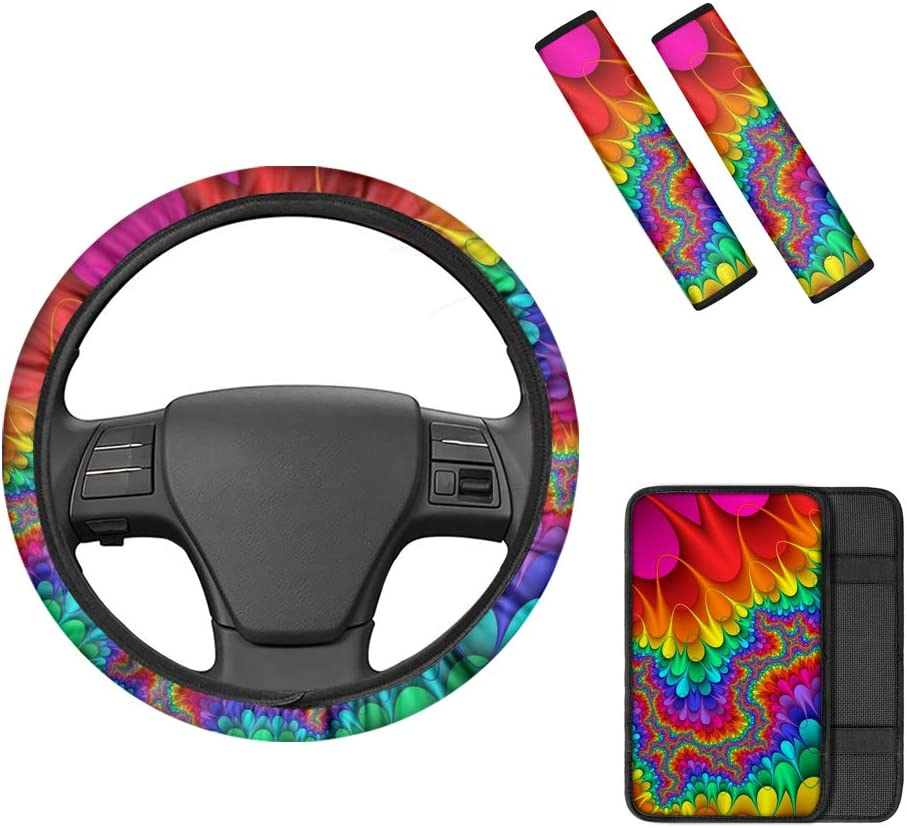 Center Console Armrest Pad Belidome 4 Pieces Women Sunflower Bee Universal Car Steering Wheel Cover Seat Belt Shoulder Covers Cute Auto Accessory Set