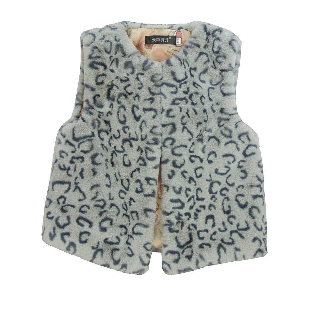 BFYOU Newborn Infant Baby Girls Plush Leopard Print Sleeveless Cardigan Vest Coat Gray by BFYOU_ Girl Clothing