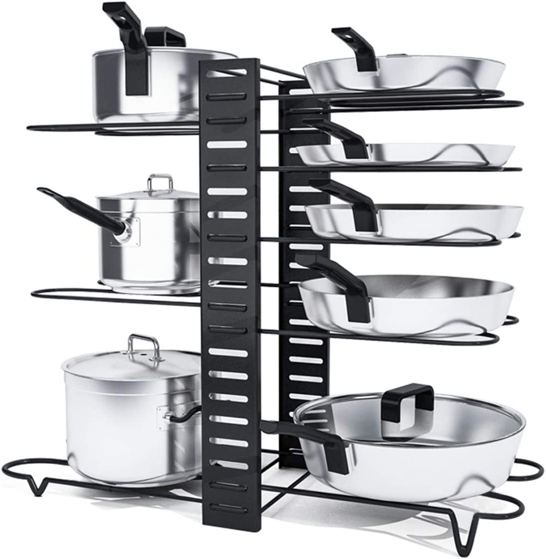 Pot Rack Organizer, Astory 8 Tiers Pan Rack Holder Stand Detachable Pot Lid Rack Length Adjustable Shelf Cookware Holders Cabinet Pantry With 3 DIY Methods for Kitchen Counter and Cabinet,Black