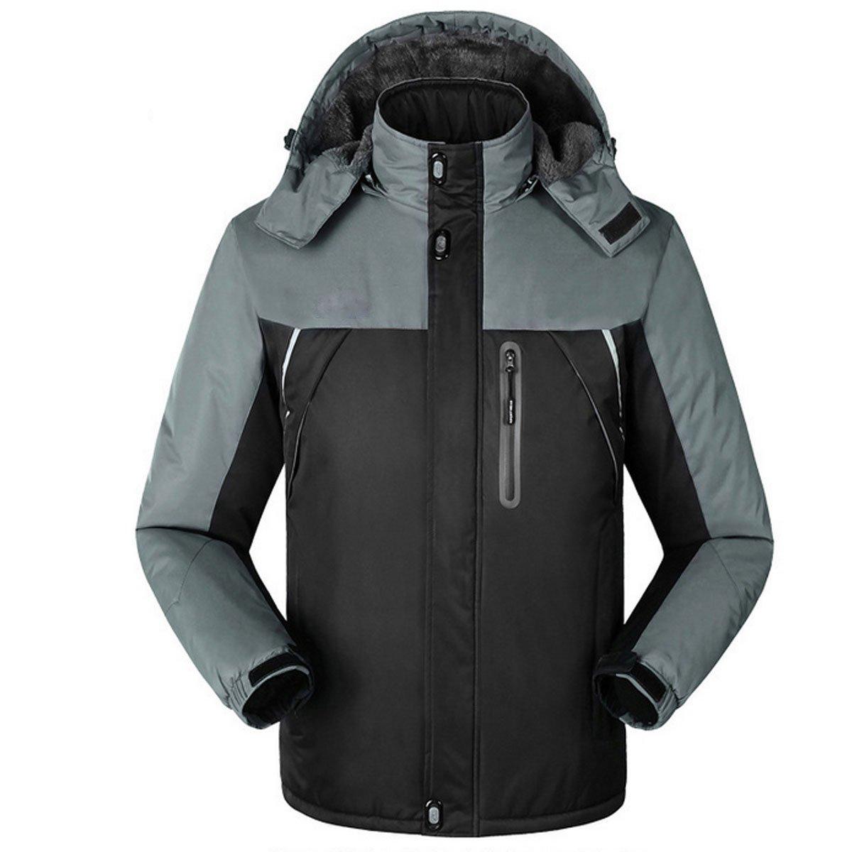 KSXXメンズ冬アウトドア防水性通気性フード付き登山ハイキングスノーボードスポーツジャケットコート B014FEC5JU XX-Large|ブラック ブラック XX-Large