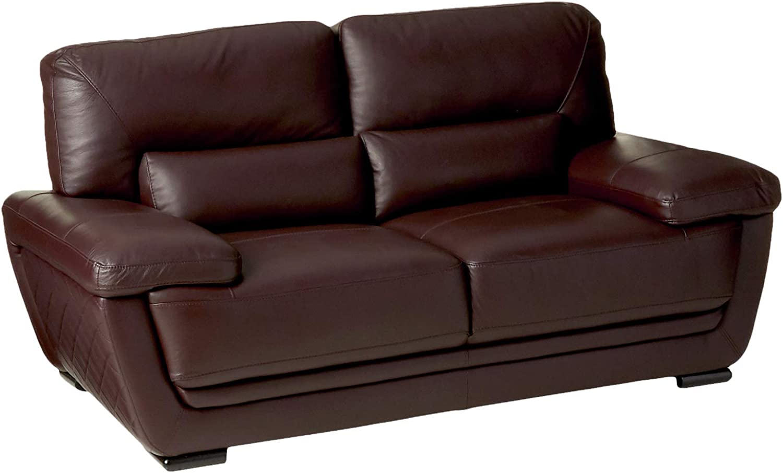 "American Eagle Furniture Emma Modern Italian Leather Living Room Loveseat, 71"", Brown"