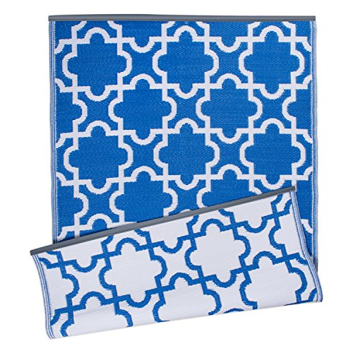 DII Moroccan Indoor/Outdoor Lightweight, Reversible, & Fade Resistant Area Rug, Use For Patio, Deck, Garage, Picnic, Beach, Camping, BBQ, Or Everyday Use - 4 x 6, Blue Lattice