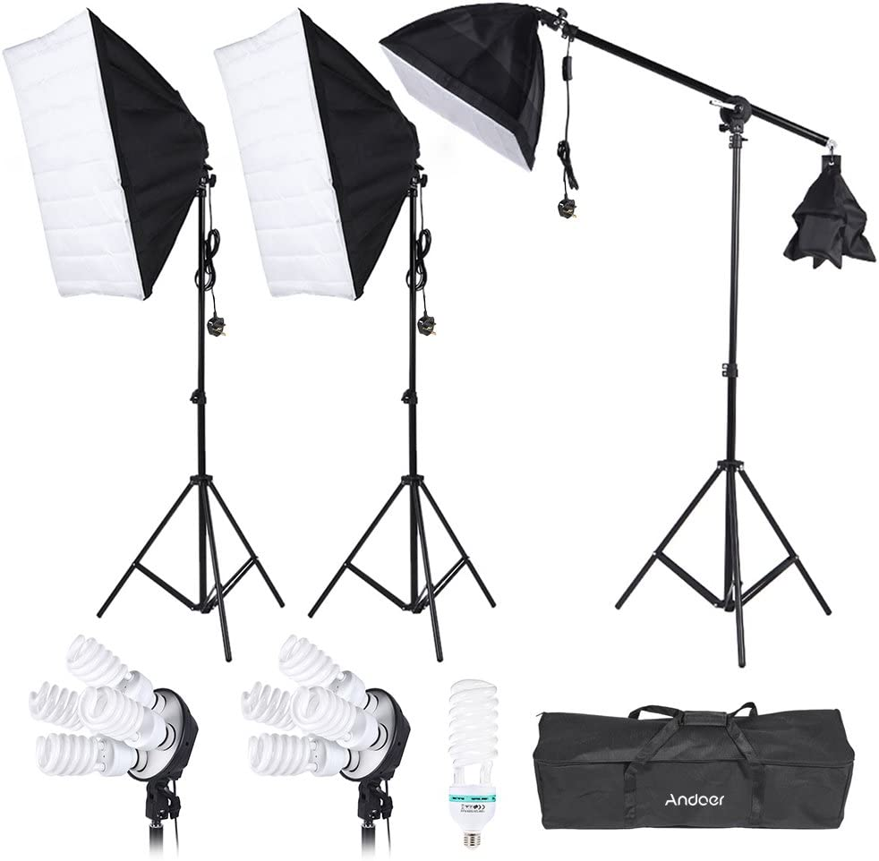 Andoer Photography Studio Portrait Product Light Lighting Tent Kit Photo Video Equipment(3 * Softbox+2 * 4in1 Light Socket+Cantilever Stick+8 * 45W Bulb+135W Bulb+3 * Light Stand+ Carrying Bag)