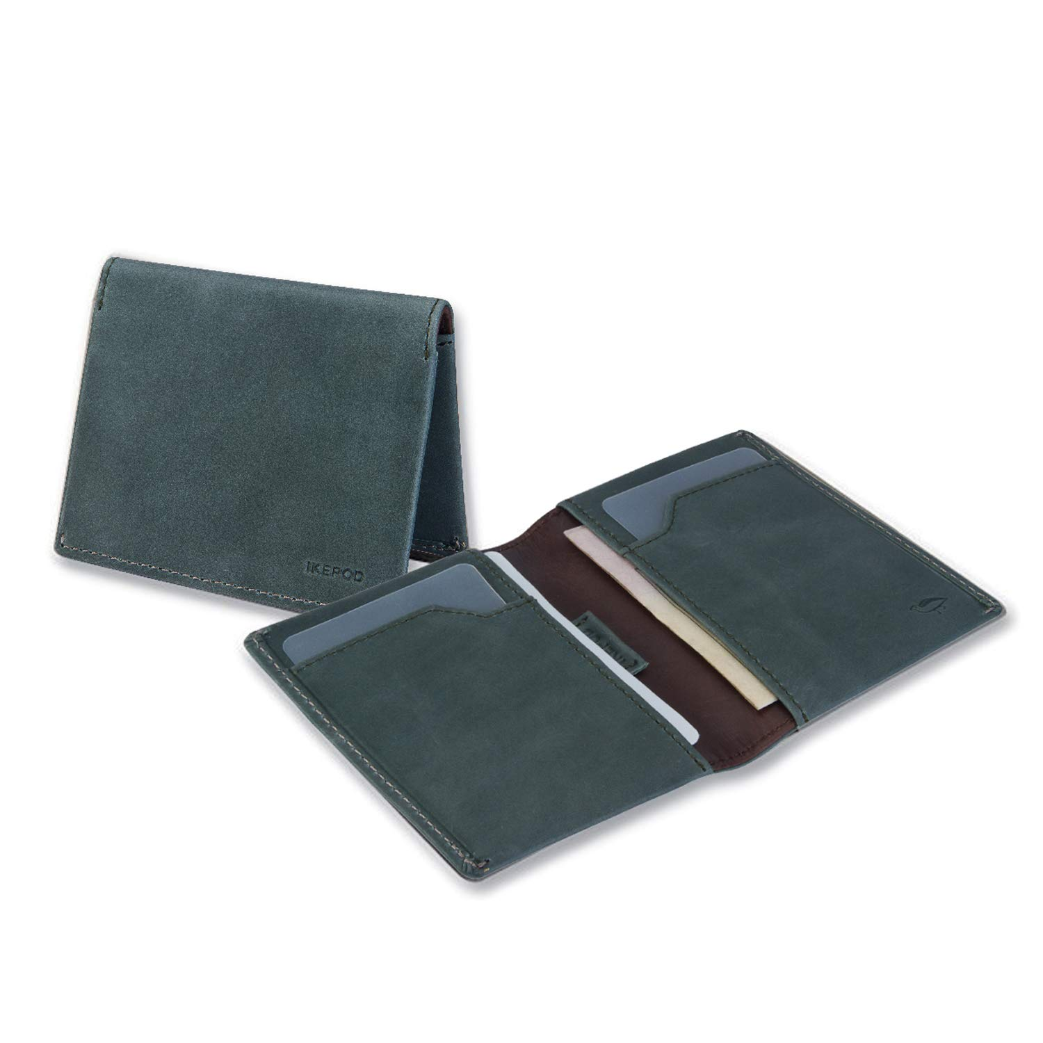 Mens Wallets,Ikepod Italy Leather Slim Sleeve Wallet (6 Colours) [RFID Blocking and Slim Stitching!] (EUCALYPTUS)