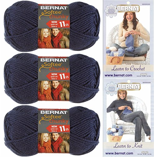 Bernat Softee Chunky Yarn, Super Bulky #6, 3 Skeins Faded Denim Bundle 28114