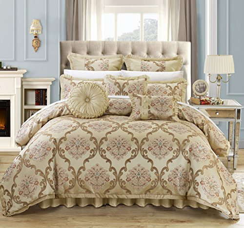 - Perfect Home 9 Piece Angelo Decorator Upholstery Quality Jacquard Scroll Fabric Complete Master Bedroom Comforter Set and pillows Ensemble, Queen, Beige