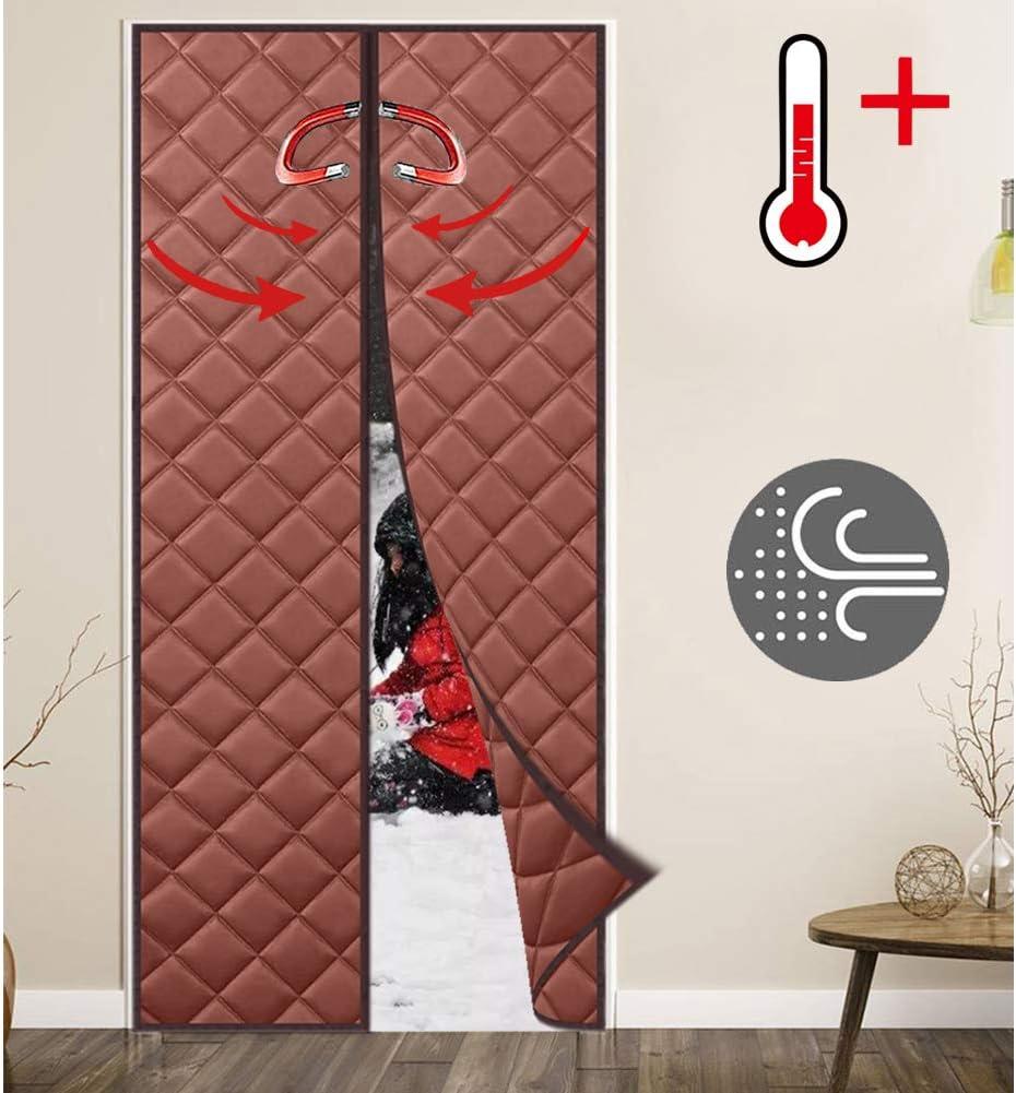 WISKEO Cortina Termica Aislante Frio Infantil Térmica ProteccióN A Prueba de Viento Adhesiva Puertas Correderas - Marrón 95x250CM: Amazon.es: Hogar
