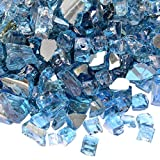 Image of Onlyfire Reflective Fire Glass for Natural or Propane Fire Pit, Fireplace, or Gas Log Sets, 10-Pound, 1/2-Inch, Pacific Blue
