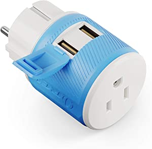 Germany, France, Schuko Travel Plug Adapter by OREI with Dual USB - USA Input + Surge Protection - Type E/F (U2U-9), Will Work with Cell Phones, Camera, Laptop, Tablets, iPad, iPhone and More