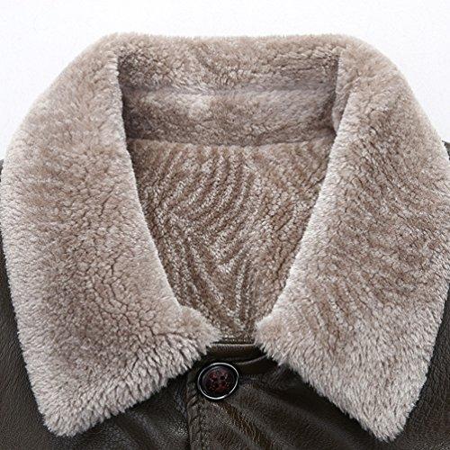 Giacca Pile Yilianda E In Mens Invernale Slim Cappotto Caldo Foderato Denso Cappotto Marrone Fit AtwIqwvZT