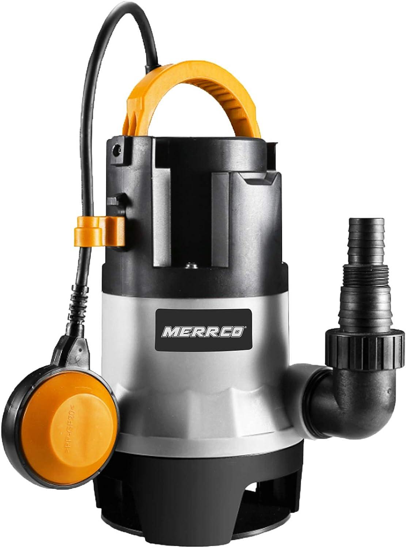 MERRCO 3302GPH Submersible Pump 1HP 750W Sump Pump Clean/Dirty Water Pump Fish Tank Swimming Pool Garden Tub Pond Flood Drain