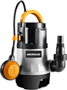 MERRCO 1981GPH Submersible Pump 1/2HP 400W Sump Pump Clean/Dirty Water Pump Fish Tank Swimming Pool Garden Tub Pond Flood Drain