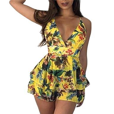 27609fd512 Holywin Mini-Short imprimé Floral à col en V pour Femme Bandage Fête sur la