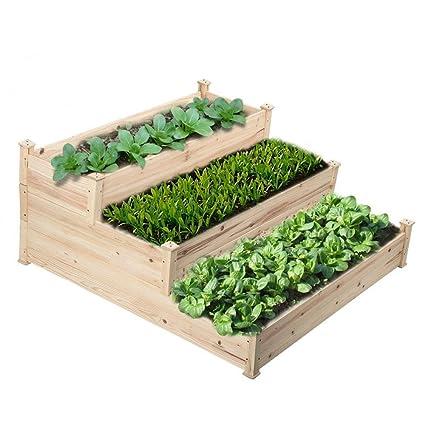 Go2buy 3 Tier Raised Garden Bed Cedar Garden Box Wooden  Vegetables/Flower/Herb Elevated