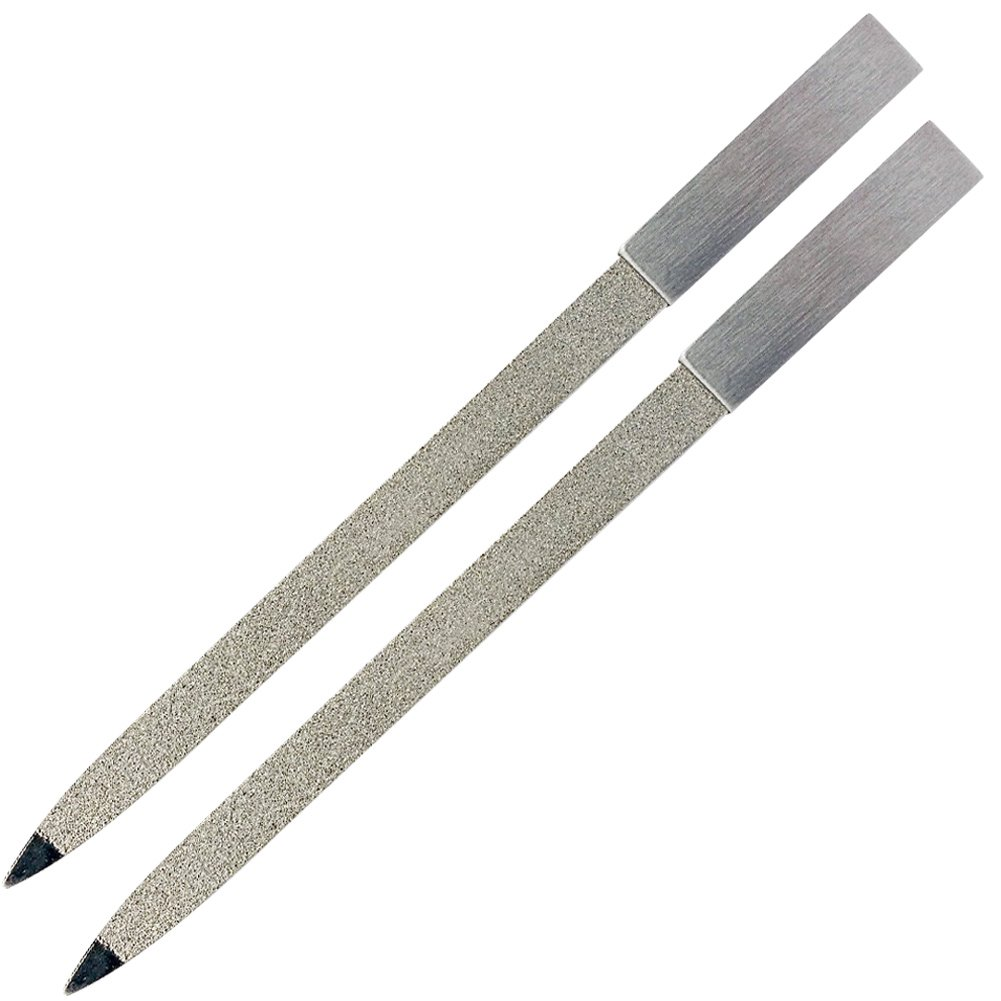2pcs 7 Inch Nail File with Premium Double Sided File Buffer for Gentle Precise Nail Shaping | Diamond Nail File with Washable Stainless Steel Permanent Surface for Home or Travel Pedicure Manicure Kit