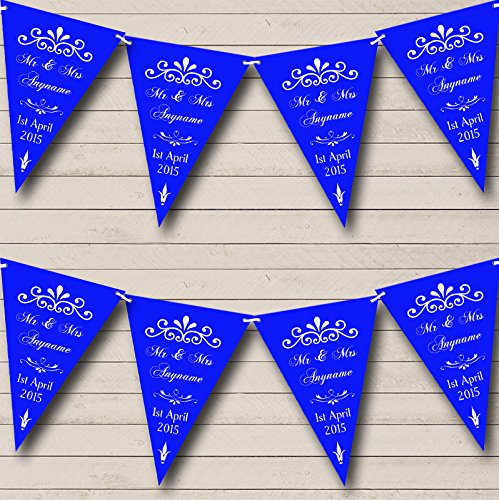 Vintage Regal Engagement Royal Blue Personalized Engagement Party Bunting Banner