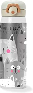 50 Cent Insulated Stainless Steel Thermos Coffee Travel Mug, Cute Cat Colorful Leak Proof Vacuum Bottle 500ML, Hot and Cold Water Bottle, BPA Free