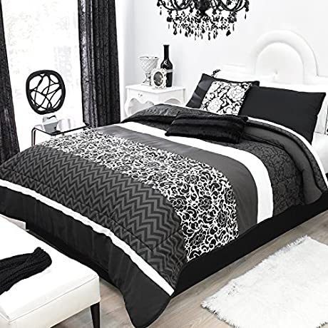 LIMITED EDITION VINTAGE BLACK WHITE GIRLS CUTE COLLECTION REVERSIBLE COMFORTER SET AND EMBROIDERED SHEET SET 10 PCS KING SIZE