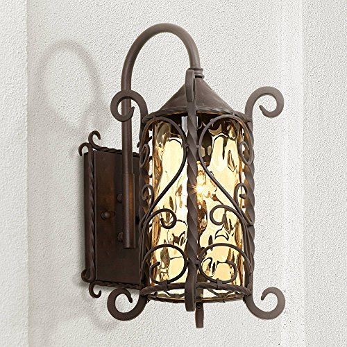 Iron Top Scroll - Casa Seville Rustic Outdoor Wall Light Fixture Mediterranean Inspired Dark Walnut Iron Twists 18 1/2