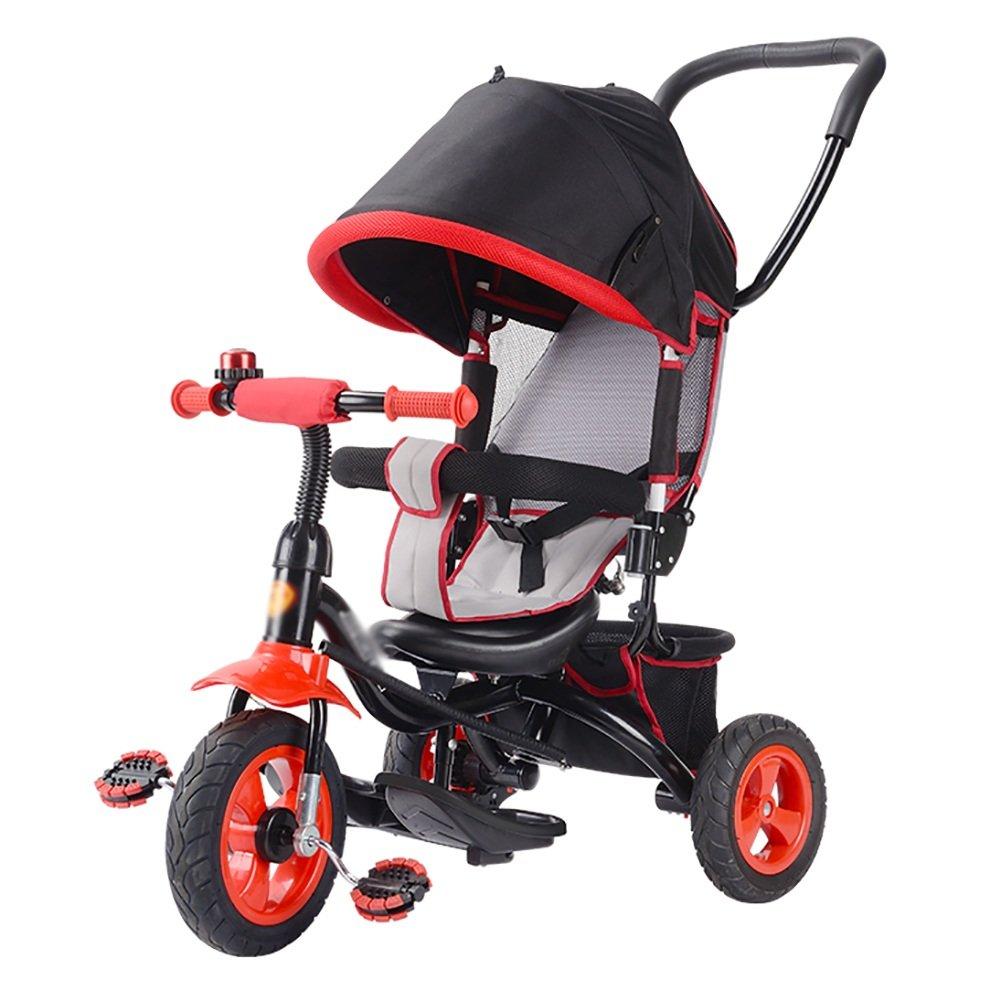 Triciclos- niños Bicicleta para niños Trike Baby Bike Carrito para bebés de 1-3-5 años de antigüedad, con Techo corredizo panorámico (Color : Purple): ...