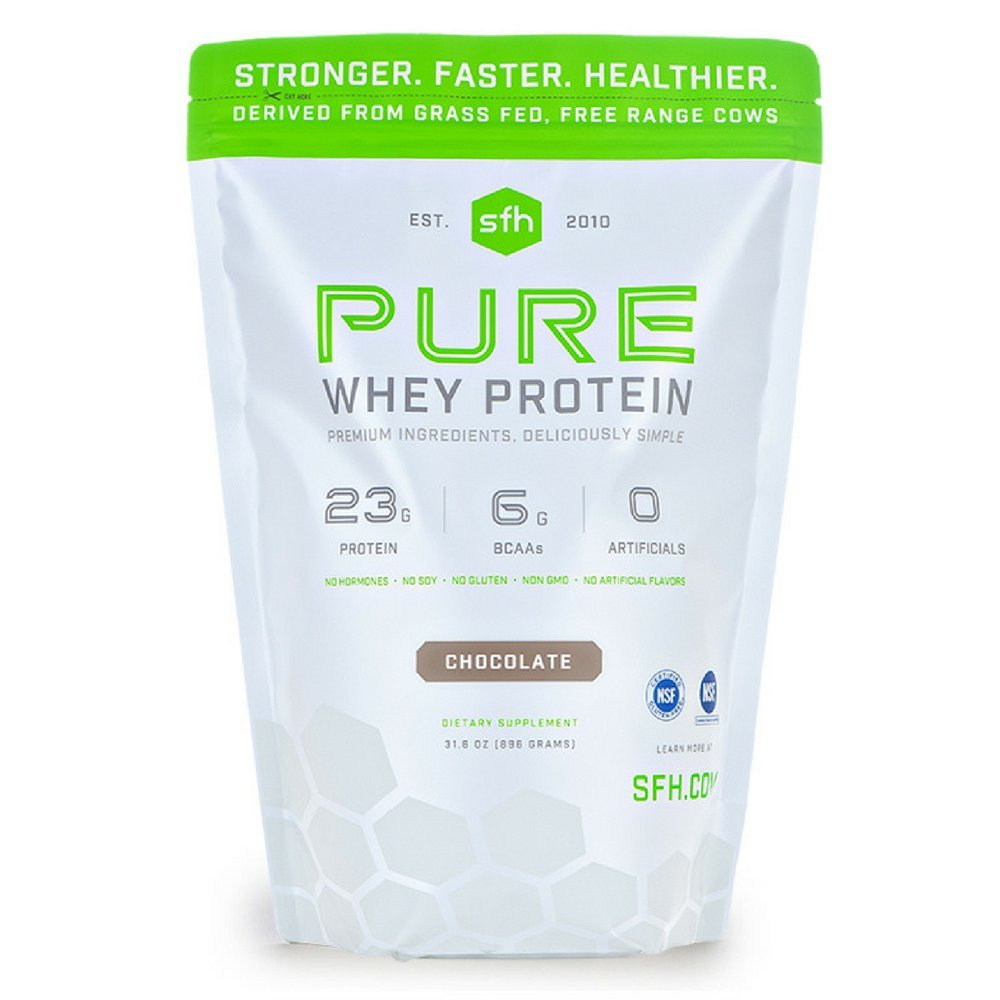 Pure Whey Protein Powder (Chocolate) by SFH | Best Tasting 100% Grass Fed Whey | All Natural | 100% Non-GMO, No Artificials, Soy Free, Gluten Free | 896g (Chocolate, 2 Pound Bag)