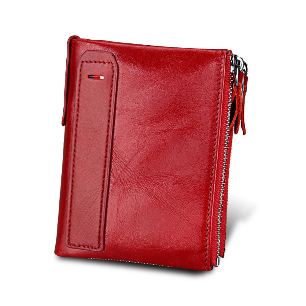 Klsyanyo for Men RFID Blocking Leather Hasp Wallets with Coin Purse Small Vintage Crazy Horse Leather Short Bifold Purse (Red)