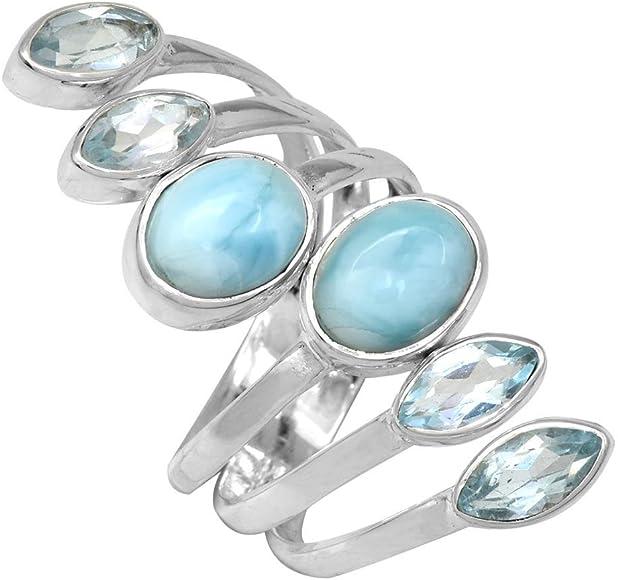 YoTreasure Natural Blue Topaz Solid 925 Sterling Silver Ring