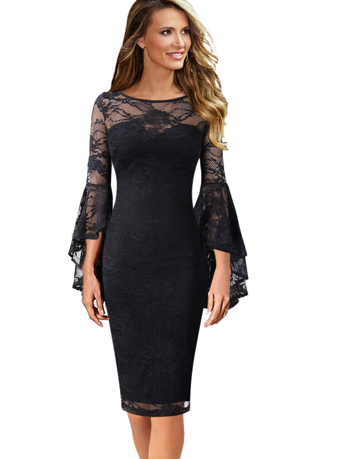 c84a3677d51c VFSHOW Womens Floral Lace Ruffle Bell Sleeves Cocktail Party Sheath Dress  1059 BLK M