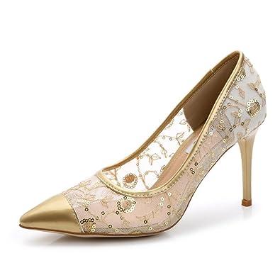 Xianshu Lackleder Mesh Hohl Pailletten Stiletto Schuhe Spitz Zehen Pumps(Pink-41) OuGCEBez