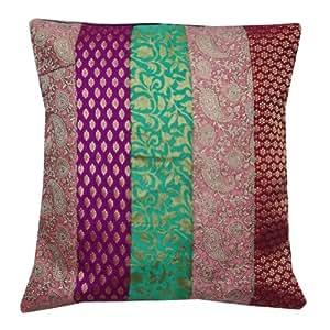 """Floral Cojín Diseño de Portada Decoración del hogar Multicolor Brocade labor de retazos Funda de almohada Art India 16"""" pulgadas"""