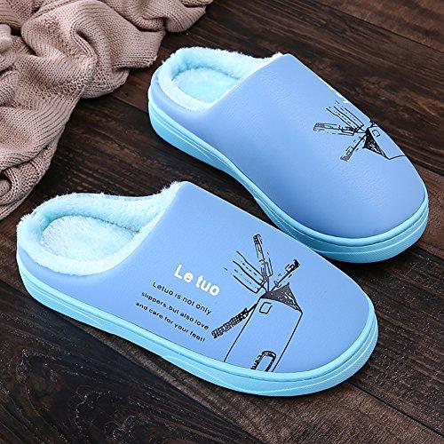 Pantofole Da Donna Calde In Pile Calde Impermeabili Blu Stampate