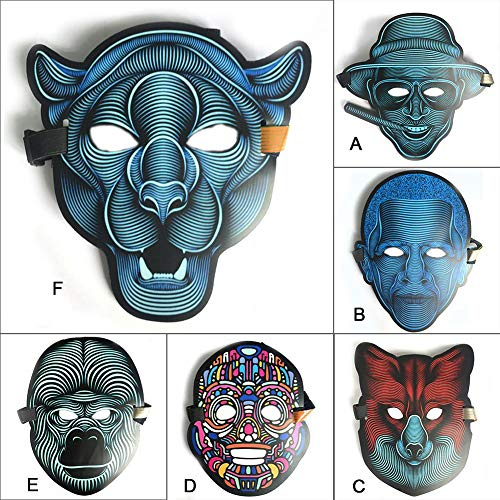 WEIZHUANGZHE Clothing Big Horror Masks Cold Light Helmet Halloween Festival Party Glowing Dance Steady Voice-Activated Music Mask,6style]()