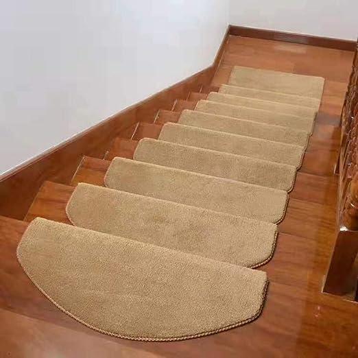 Alfombra Escalera Treads,simple Shaggy Etiqueta Engomada Moquetas Pisadas De Escalera Set De 5 Suave Color Sólido Cinta Gratuita Alfombras De Escalera Para Escaleras Domésticas-kaki 65x24cm(26x9inch): Amazon.es: Hogar