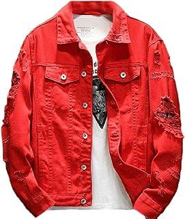 LEISHOP Men's Fashion Ripped Hole Long Sleeve Demin Jacket Jean Coat Outwear