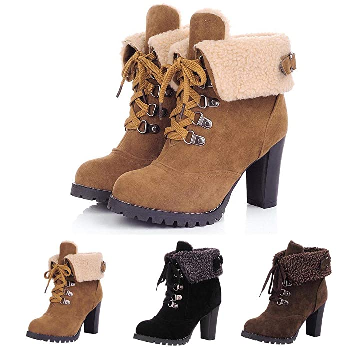 Amazon.com | Sunmoot Leather Ankle Boots Women Lace Up Square Chunky High Heels Round Toe Plush Warm Shoes | Shoes