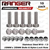 Ranger 10 Pcs M10 x 35mm 1.25 A2 Stainless Steel Fully Threaded Hex Head Screw Bolts with Nylon Lock Nuts