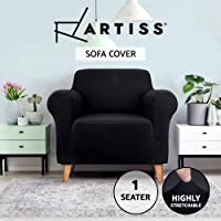 Artiss Sofa Cover Elastic Stretchable Couch Covers Black 1 Seater