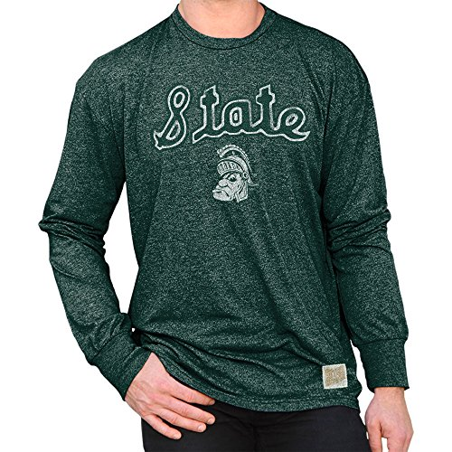 - Elite Fan Shop Michigan State Spartans Retro Long Sleeve Tshirt Green - L