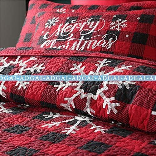 Noël King Size Couvre-lits matelassés 3 pièces Quilts en coton à carreaux rouge Couvre-lit Flocon de neige blanc brodé avec 2 taies d'oreiller, 251x269cm