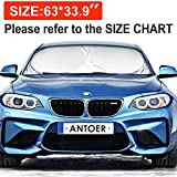 #5: Windshield Sun Shade With 2 Ears For Maximum UV And Sun Protection -Foldable Sunshade For Car Windshield Will Keep Your Car Cooler- Easy To Use Windshield Sunshade 63''x33.9''