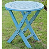 Pemberly Row 19'' Folding Patio Table in Sky Blue