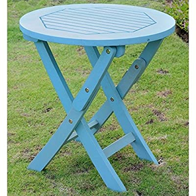 International Caravan TT-RT-014-SKB-IC Furniture Piece Acacia Round Folding Table - Item material: Acacia wood Item color: Sky Blue Country of Origin: Vietnam - patio-tables, patio-furniture, patio - 61UbL2NjXbL. SS400  -