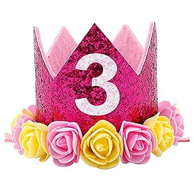 Amazon.com: Cumpleaños corona bebé niña flor tiara diadema ...