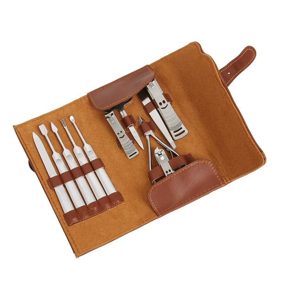 YLiansong Manicure Pedicure Mens Grooming Kit 11 en 1 Tijera de Acero Inoxidable Set con Estuche de Viaje de Cuero