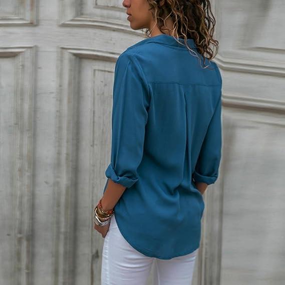 Mujer Blusas Casual Sólido Gasa Camisa Manga Larga de Solapa: Amazon.es: Ropa y accesorios