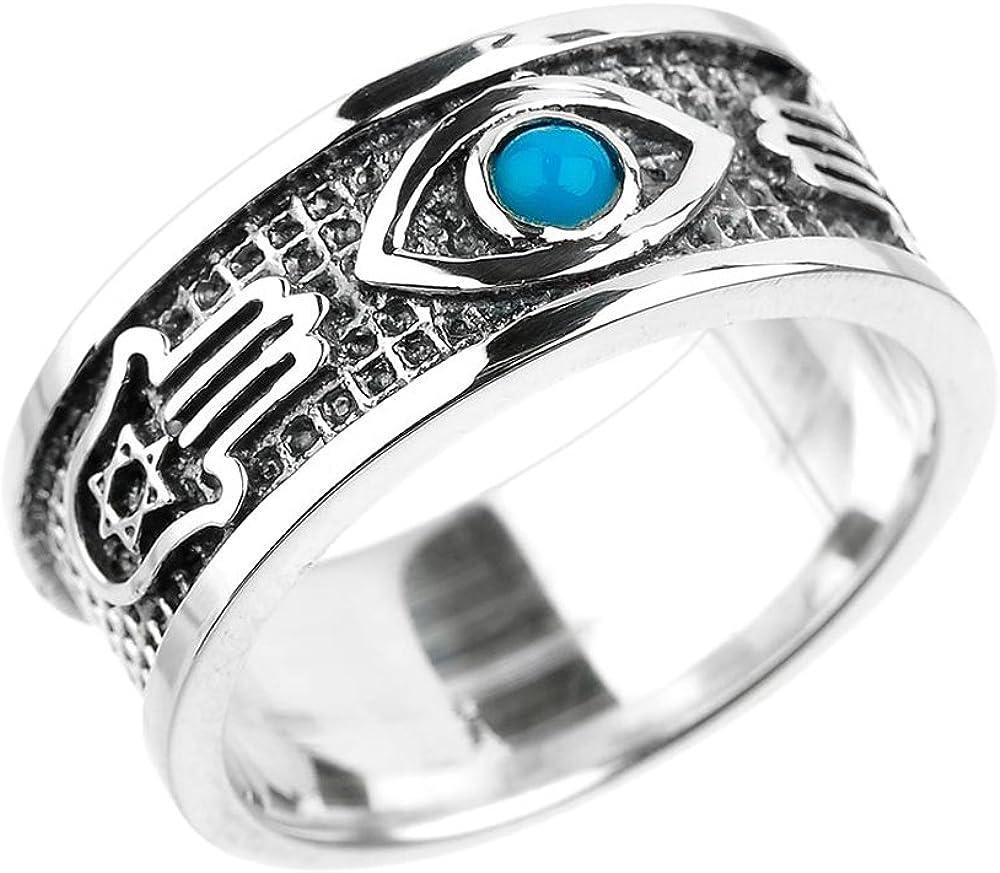 Sterling Silver Hamsa Star of Cheap David Uni Super special price with Blue Gem Evil Eye