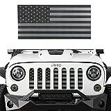#9: Hooke Road Front US American Flag Jeep Grille Insert Old Glory for 2007-2018 Jeep Wrangler JK & Wrangler Unlimited (Black Out)